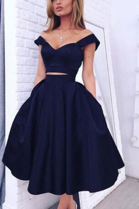 Two Piece Off The Shoulder Gorgeous A Line Dark Navy